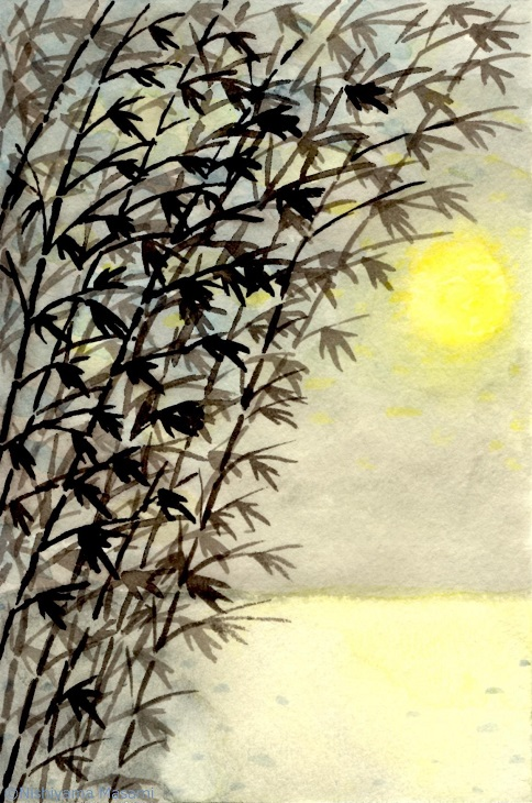 墨絵 水彩 月と笹 s