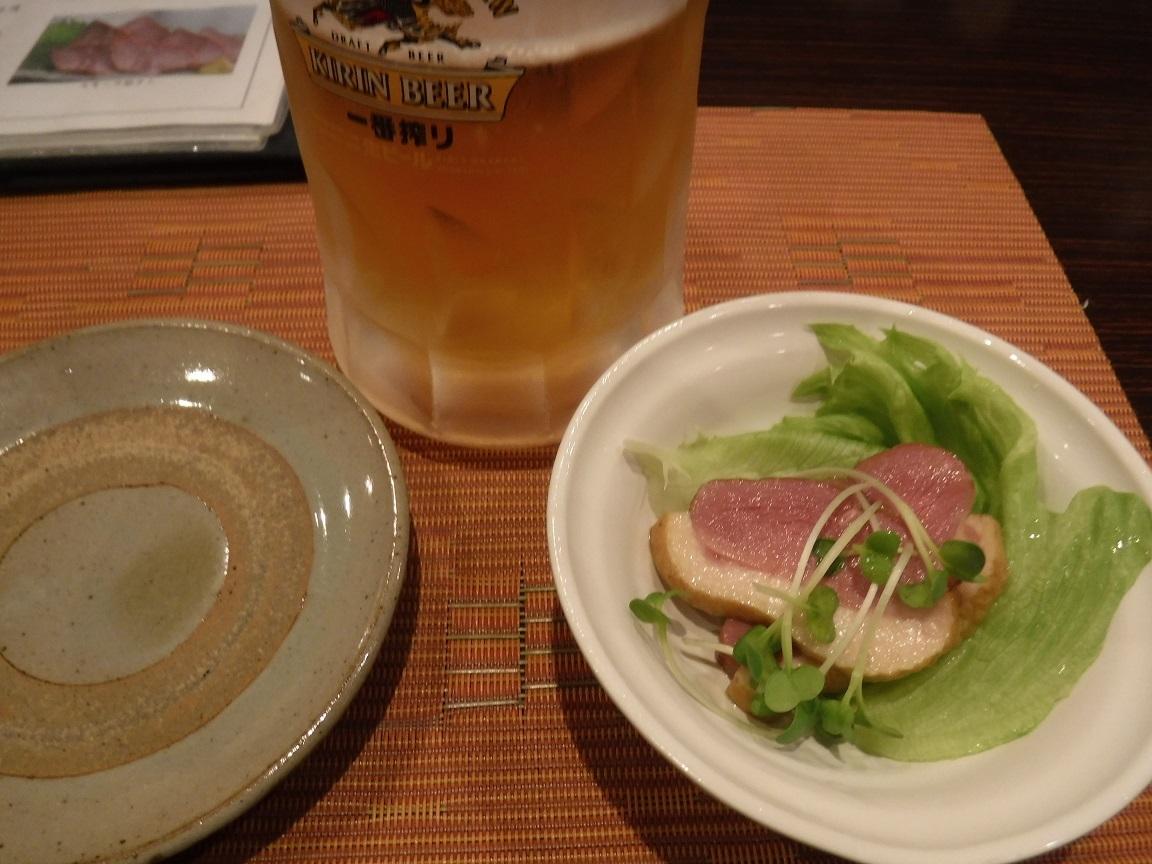 ブログ 8日のお通しとビール.jpg