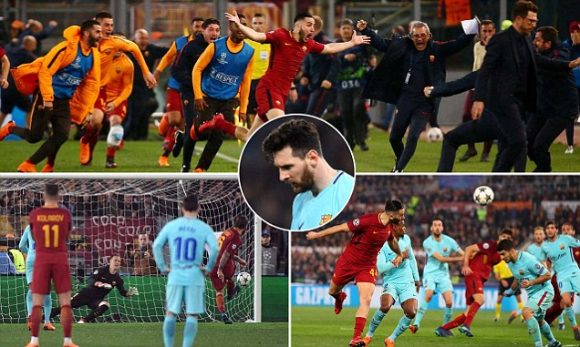 Barcelona OUT Roma stage memorable comeback to eliminate favourites on away goals rule at the Stadio Olimpico