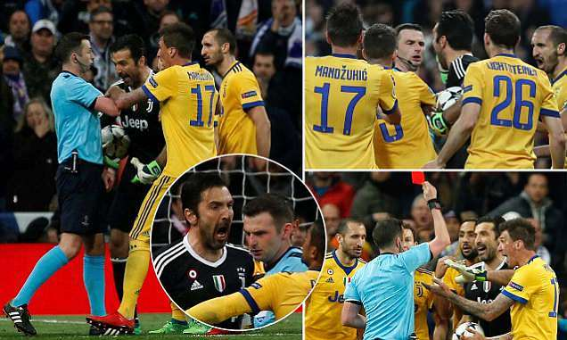 Buffon sent off in final Champions League appearance after angrily confronting referee Oliver over late Real Madrid penalty