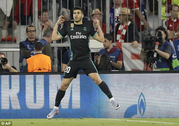 Asensio celebrates after scoring his sides second goal at the Allianz Arena 2018
