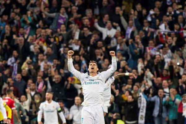 Ronaldo looks to the sky and shouts in jubilation as his side booked their place in the Kiev final