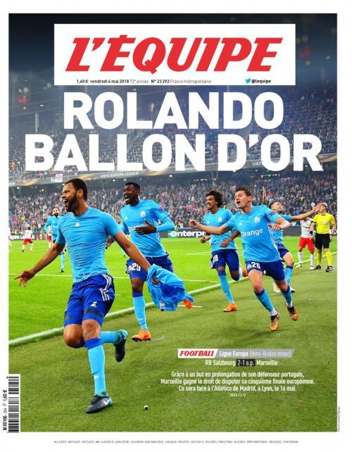 LÉQUIPE newspaper ROLANDO BALLON DOR as their cover
