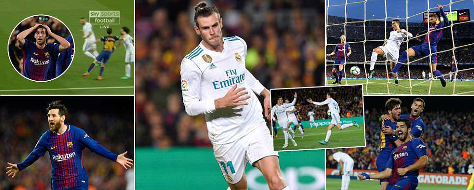 EL CLASICO Barcelona v Real Madrid Bales fine finish draws visitors level after Roberto was shown straight red for hosts