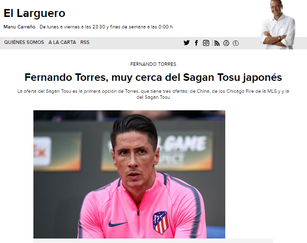 Fernando Torres, muy cerca del Sagan Tosu japonés