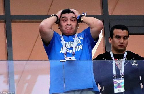 Maradona looks on in disbelief as Argentina crash