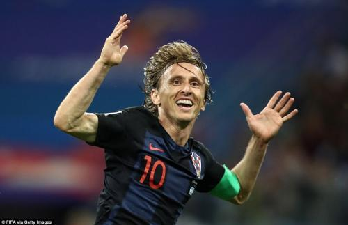Modric celebrates his spectacular strike