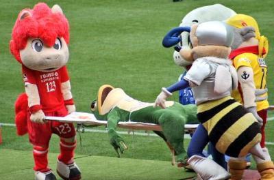Ehime FCs stadium is accident-prone frog Ippei-kun