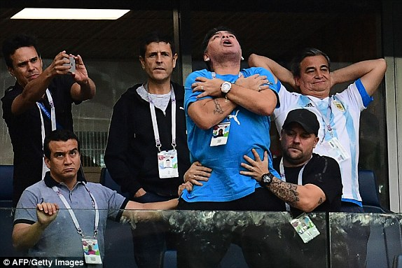 Diego Maradona's reaction after Messi's goal