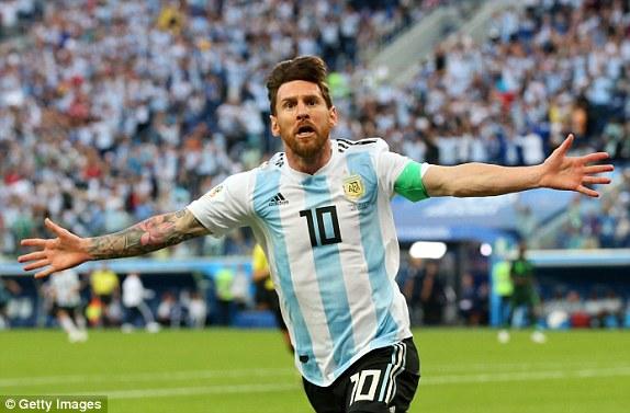 Messi celebrates opening the scoring for Argentina in Saint Petersburg