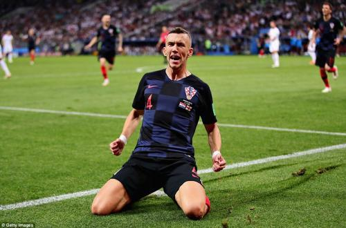 Inter Milan winger celebrates after equalising for Croatia in the 68th minute of their World Cup semi-final clash