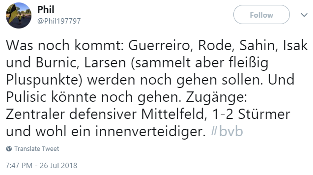 Reliable insider Dortmund want to sell Guerreiro, Rode, Sahin, Isak, Burnic and maybe Larsen