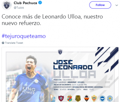 Pachuca announce the signing of Leonardo Ulloa