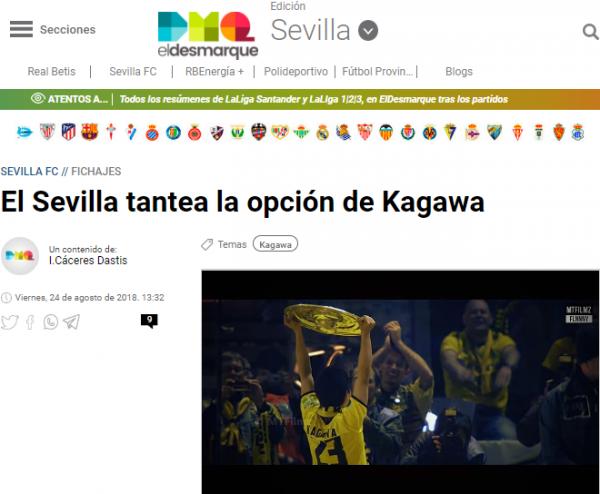 El Sevilla tantea la opción de Kagawa