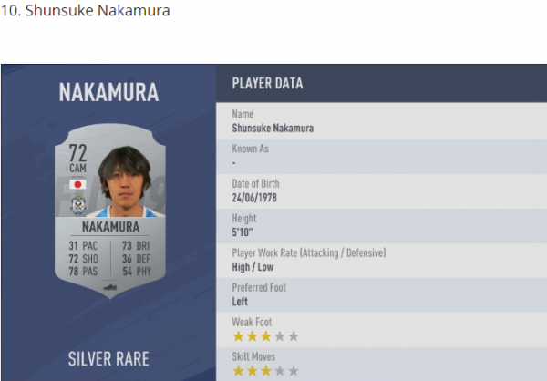 Shunsuke Nakamura FIFA 19 PLAYER RATINGS TOP_10 FREE KICK TAKERS