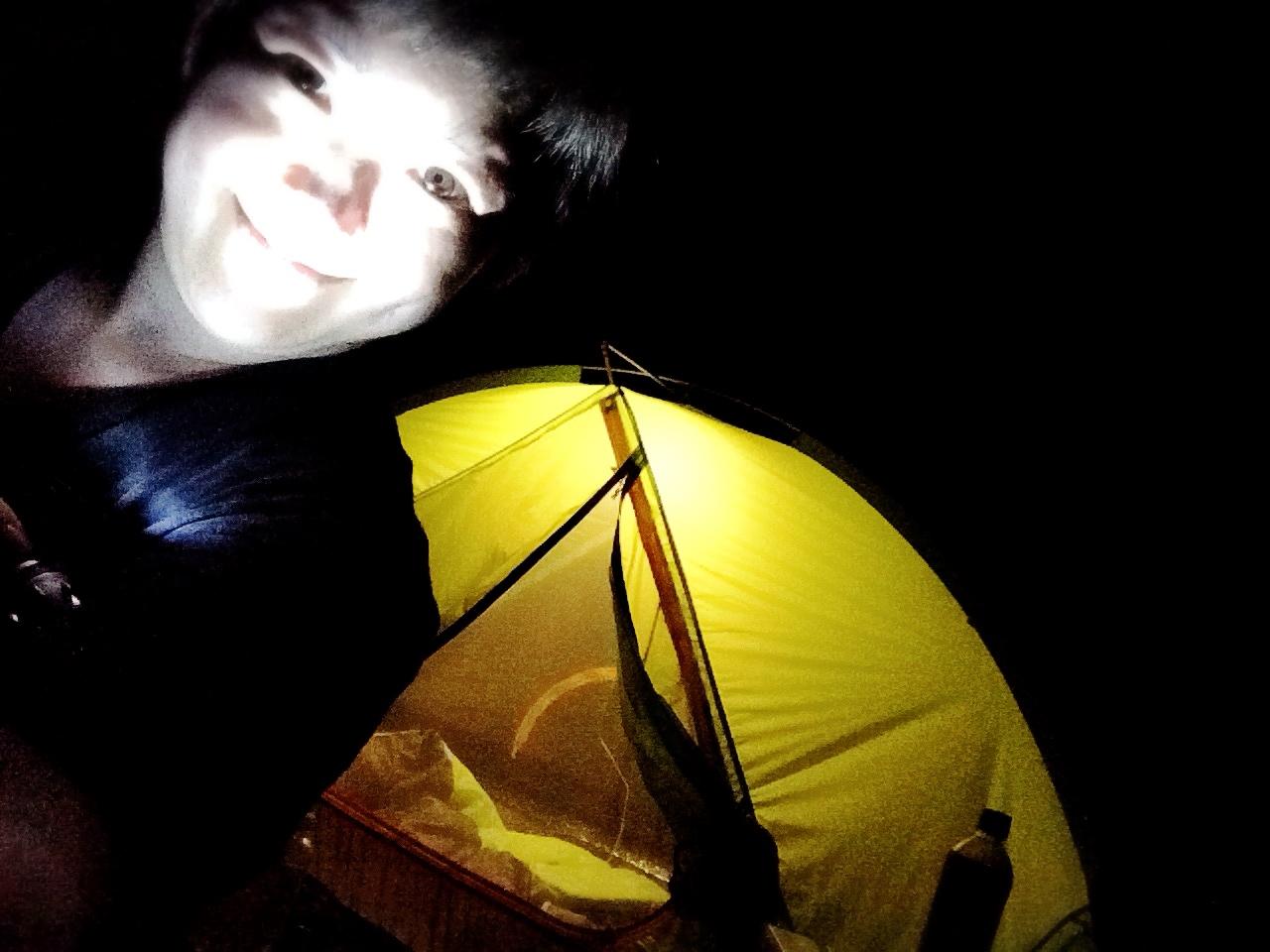 若杉楽園キャンプ場 夜テント