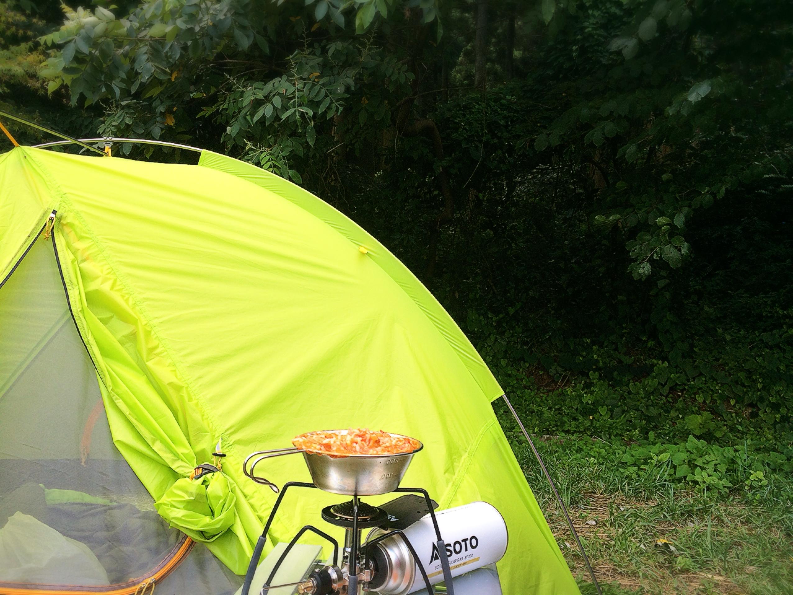 若杉楽園キャンプ場 テントとリゾット