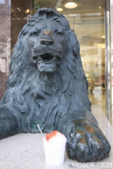 三越ライオンと青果氷