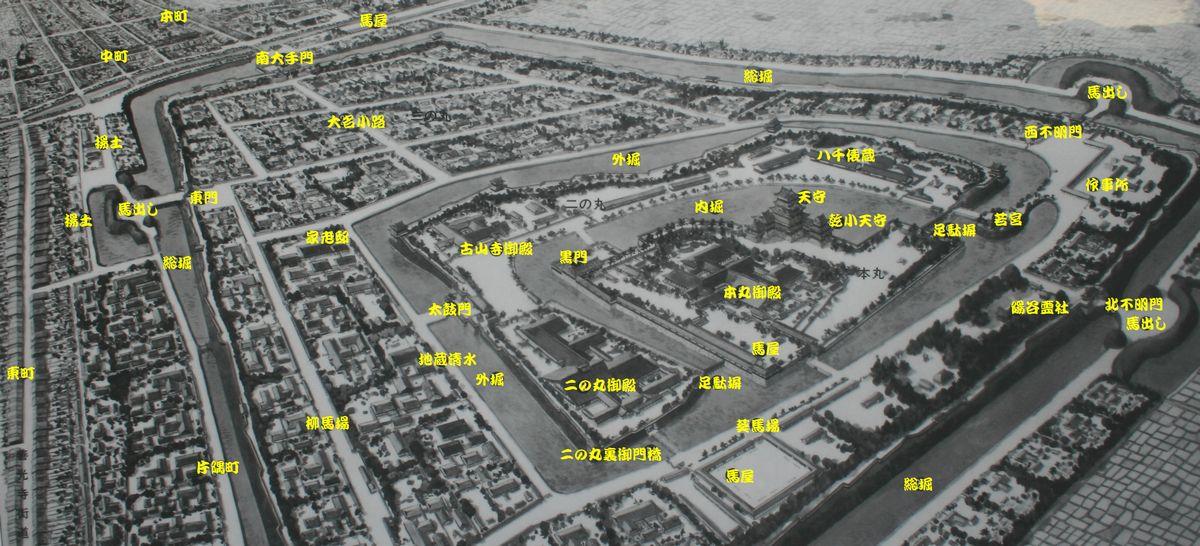 松本城下図
