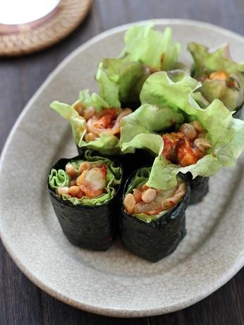 キムチ納豆海苔巻き