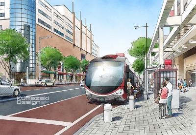 道路整備 都市計画 街づくり 連結バス 専用レーン イメージパース ラフスケッチ イラスト 手書きパース 手描きパース フォトショップ