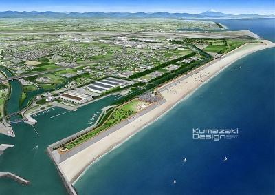 防潮堤 津波対策 都市計画 街づくり イメージパース ラフスケッチ イラスト 手書きパース 手描きパース フォトショップ
