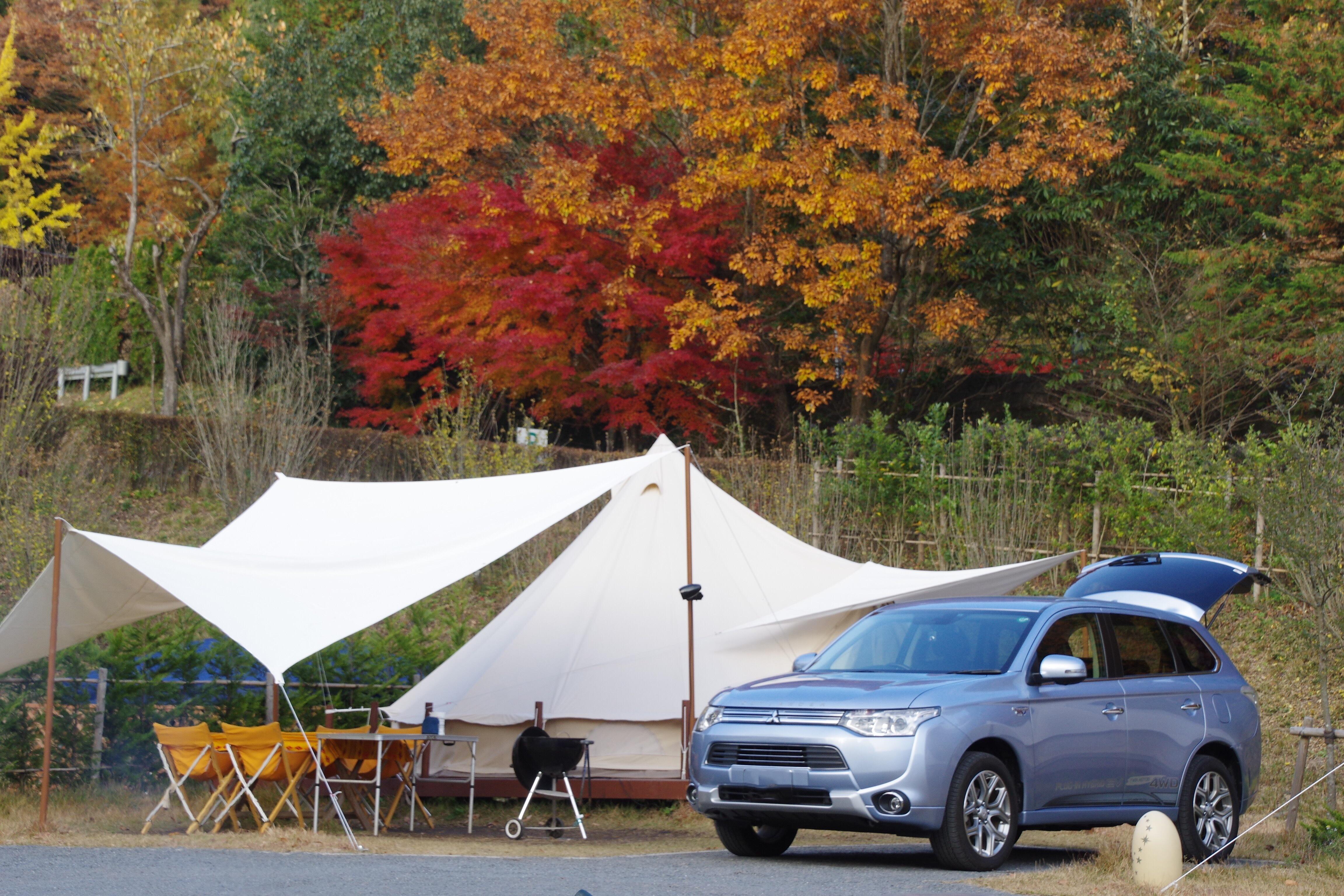 アウトランダーPHEV キャンプ場 Mitsubishi Outlander phev camp