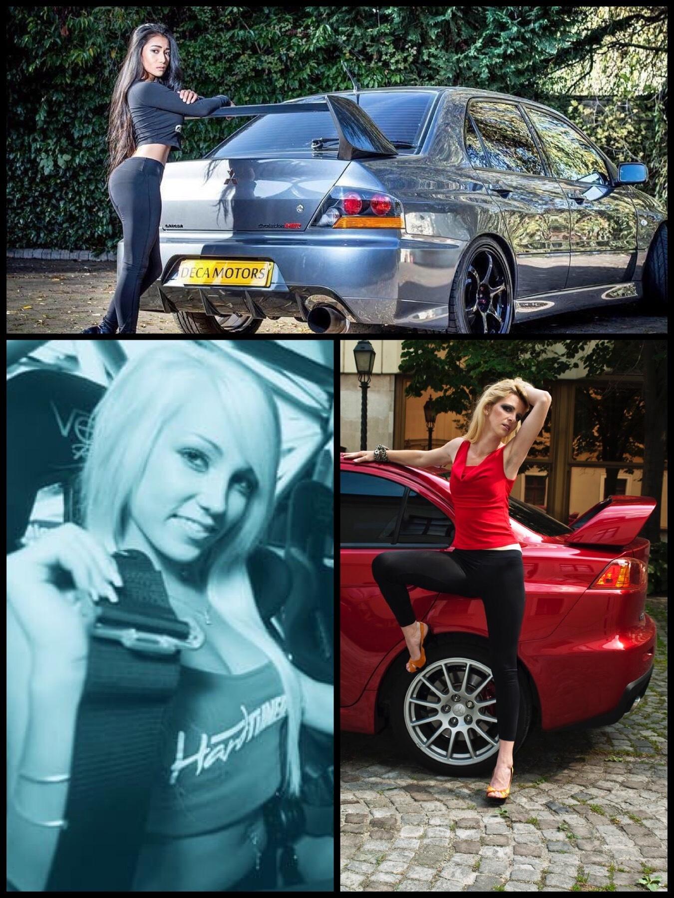 Beautiful women with Mitsubishi mortars cars