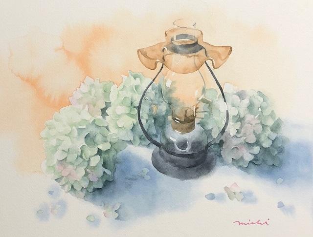 ドライ紫陽花とランプ2018