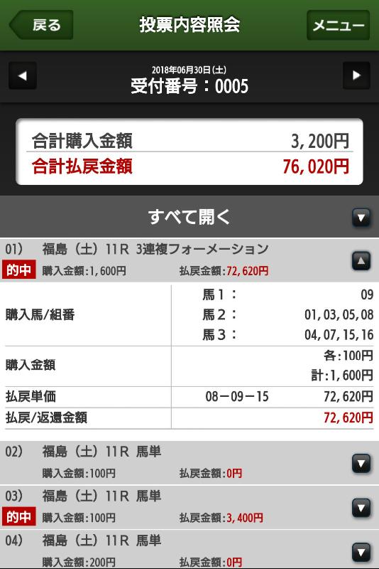 0630福島メイン馬券