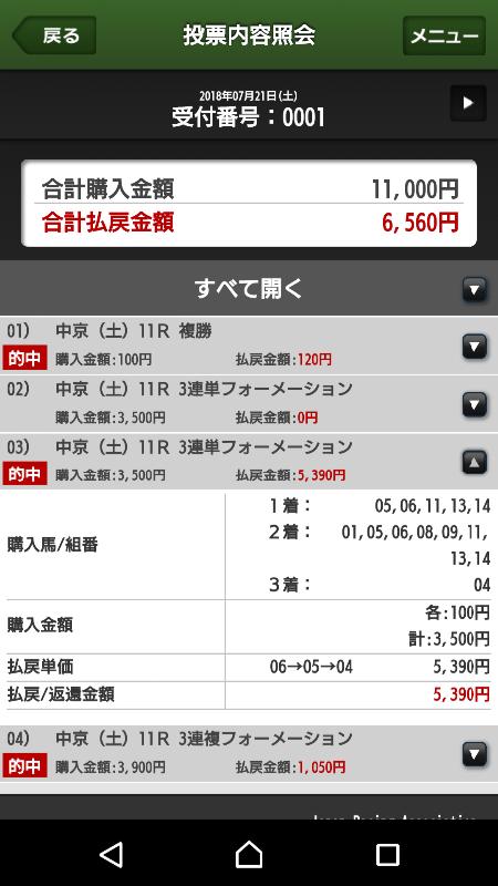 【的中馬券】0721中京11R(長生式馬券スタイル)
