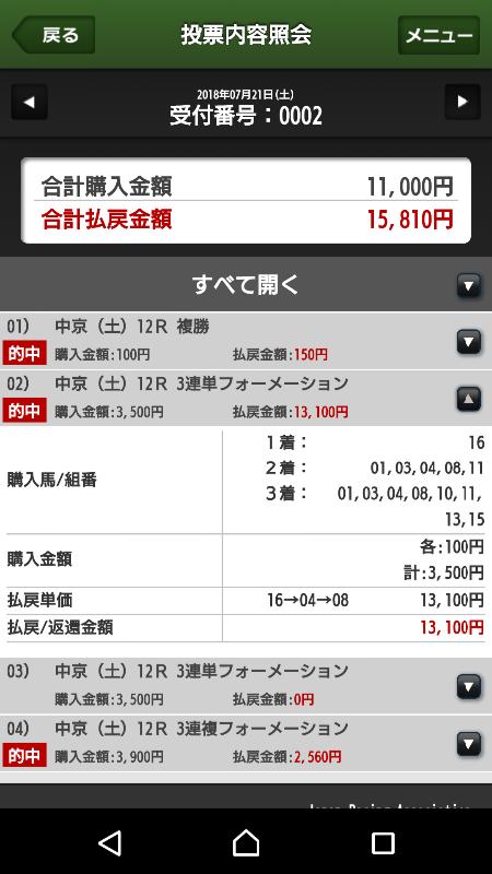 【的中馬券】0721中京12R(長生式馬券スタイル)