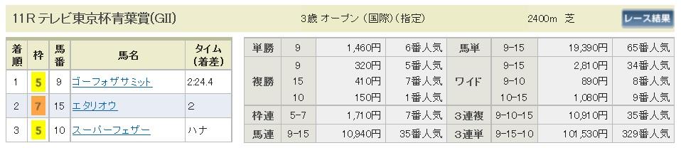 払戻金【300428】青葉賞(長生式馬券スタイル)
