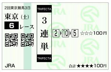 馬券【300428】東京6R_2(長生式馬券スタイル)
