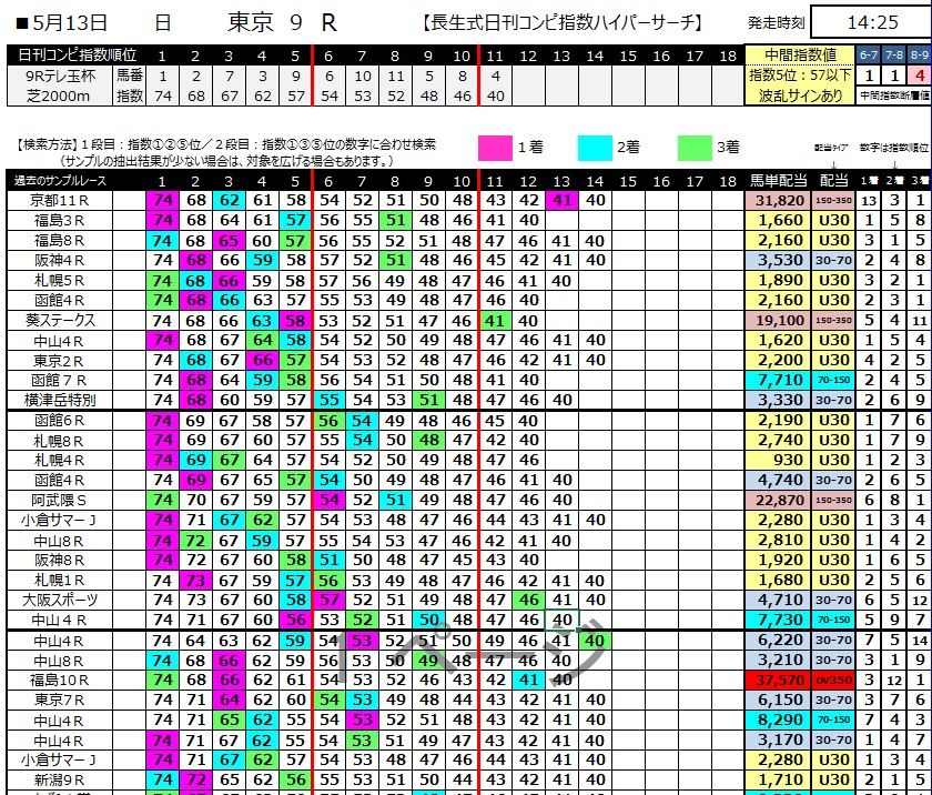 【ハイパーサーチ】300513東京9R(長生式馬券スタイル)
