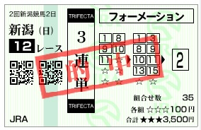 【的中馬券】0729新潟12R(長生式馬券スタイル)