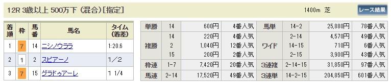 【払戻金】0805新潟12R(長生式馬券スタイル)