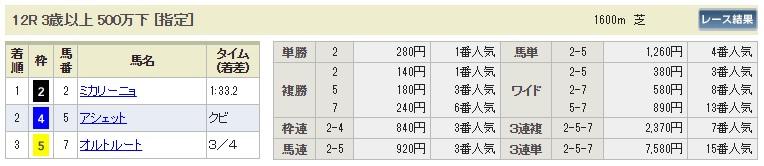 【払戻金】0811新潟12R(長生式馬券スタイル)