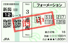 【的中馬券】0812新潟12R(長生式馬券スタイル)
