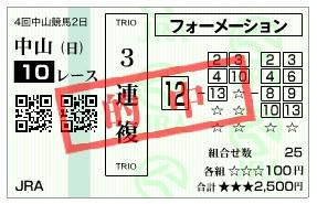 【的中馬券】300909中山10R(長生式馬券スタイル)