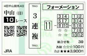 【馬券】0916中山10R(長生式馬券スタイル)