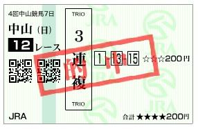 【的中馬券】300923中山12R(長生式馬券スタイル)