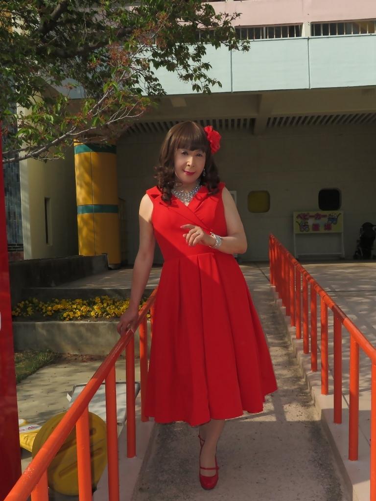 赤ミディドレスB(4)