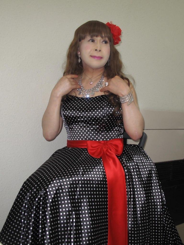 ドット柄のドレス控室(4)