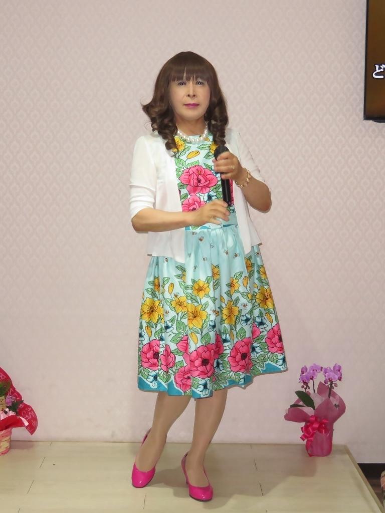 緑地に総花柄ワンピカラオケ(2)