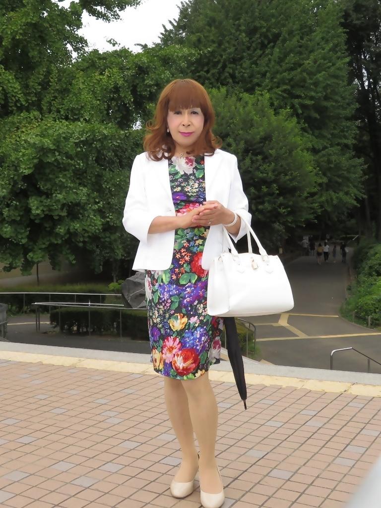シルク花柄ワンピ白ジャケットD(1)