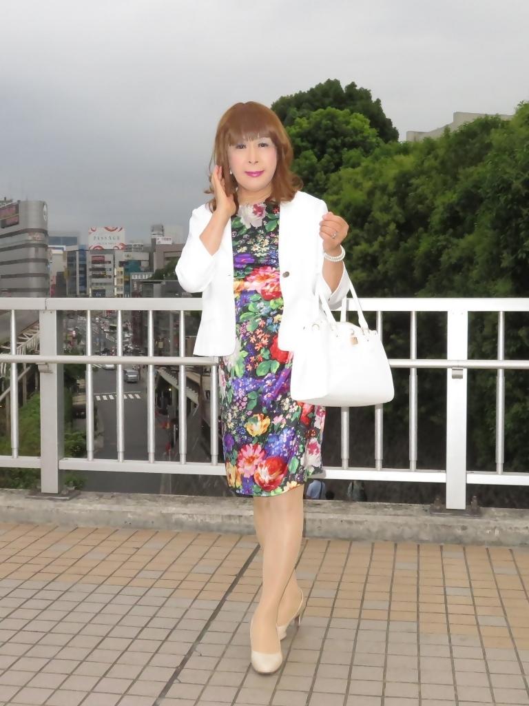 シルク花柄ワンピ白ジャケットD(5)