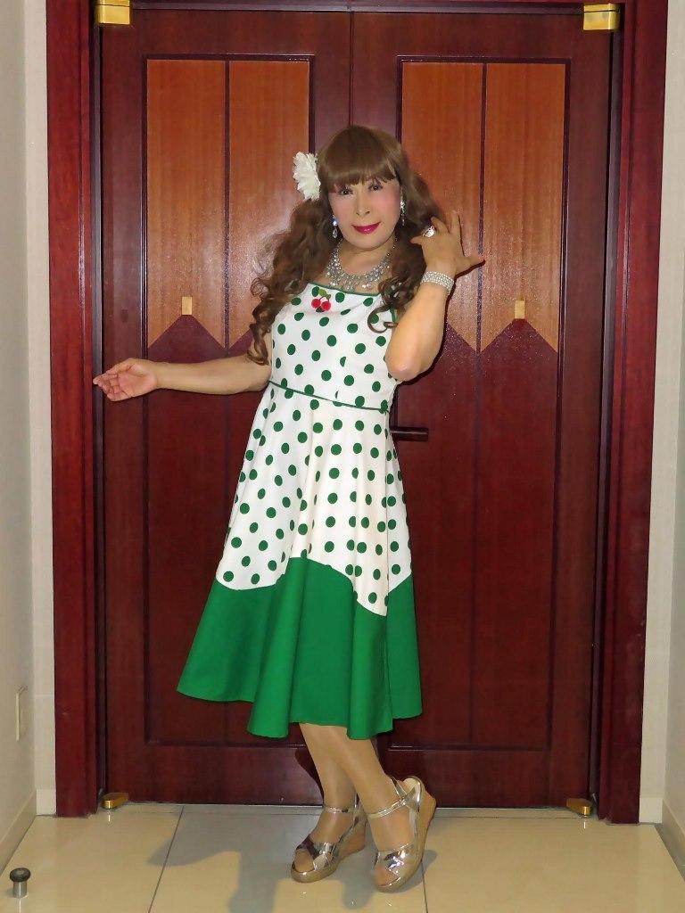 緑ドット模様舞台衣装ロビーA(5)