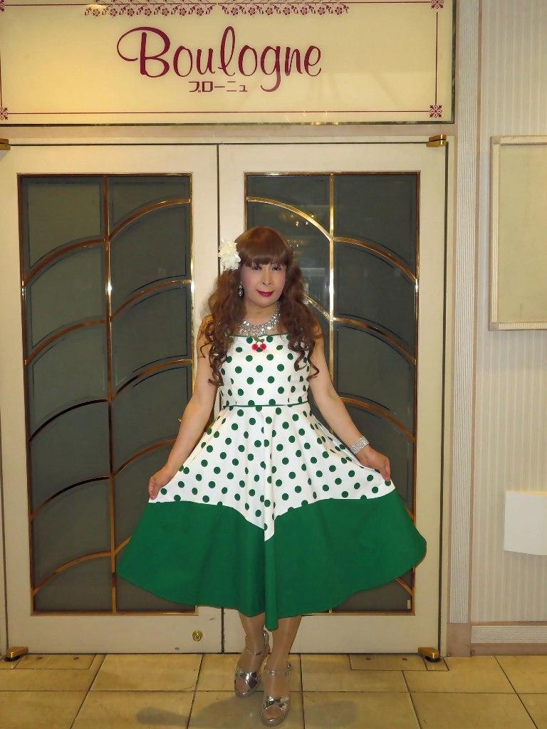 緑ドット模様舞台衣装ロビーA(6)
