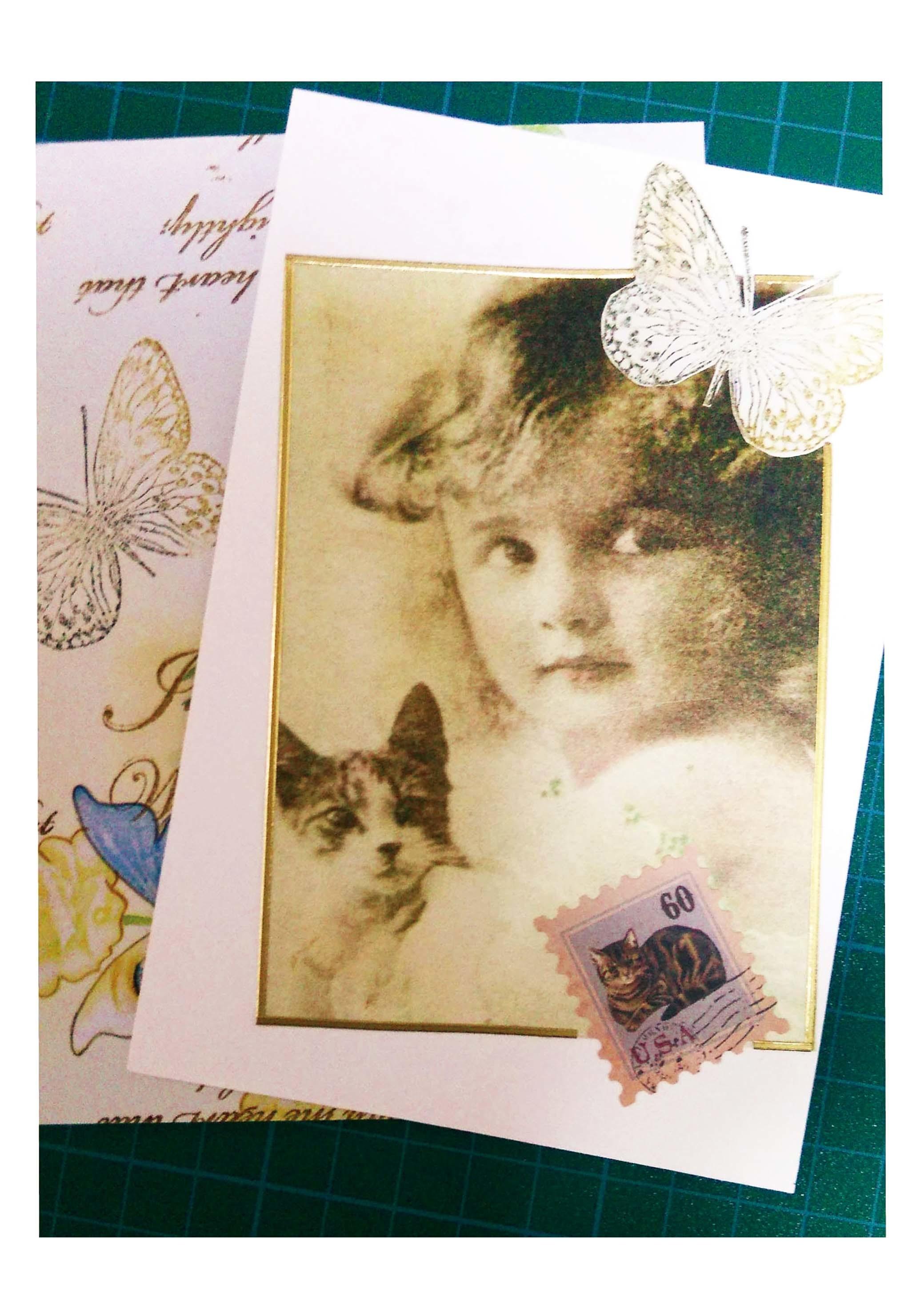少女と猫ポストカード